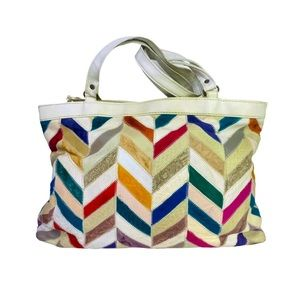 Vntg 80s Patchwork Leather Suede Multicolour Tote